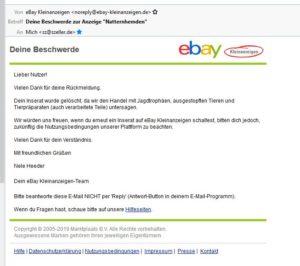Reaktion eBay Kleinanzeigen auf Beschwerde zur Anzeigenlöschung über Natternhemden