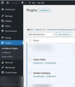 Dashboard > Plugins: 1.) Classic Editor > Einstellungen: Siehe oben. 2.) Disable Gutenberg > Einstellungen: Siehe oben.